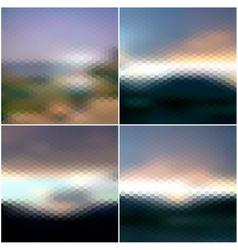 Blurred sunset hexagonal backgrounds set sunrise vector image