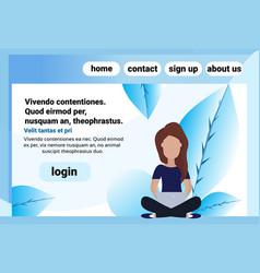 brawn hair woman sitting pose using laptop female vector image