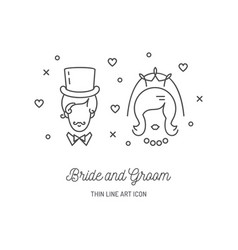bride groom icons wedding couple signs love line vector image