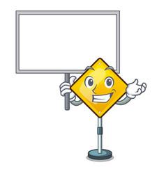Bring board harm warning sign shaped on cartoon vector