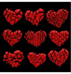 Broken red heart on black vector