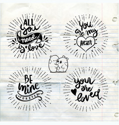 Calligraphic love words typography poster vector