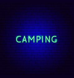 Camping neon text vector