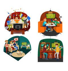 cartoon set of friends having football party vector image