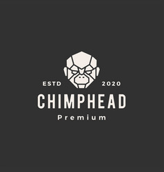 chimp head hipster vintage logo icon vector image