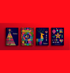 christmas new year colorful nordic folk card set vector image