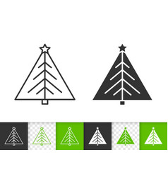 christmas tree simple black line fir icon vector image