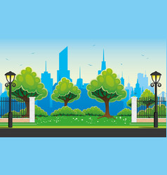 city park with trees vector image