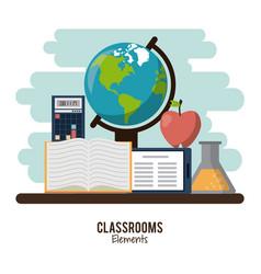 Classroom elements design vector