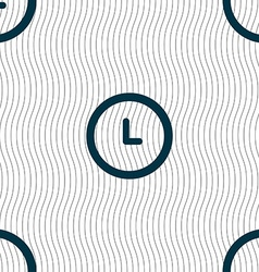 clock icon sign Seamless pattern with geometric vector image