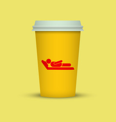 Coffee cup with sleeping man silhouette on it vector
