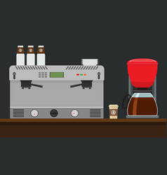 coffee machine for make coffee flat style mock up vector image