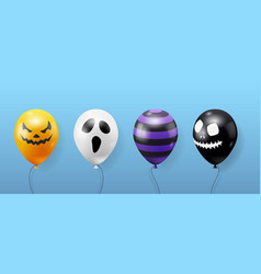collection funny halloween realistic balloons vector image