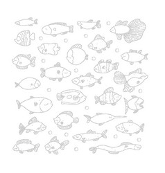 connect dots game swimming marine fish in set vector image