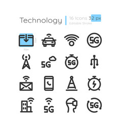 connection coverage linear icons set vector image