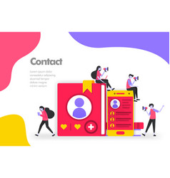 contact list concept list names and personal vector image
