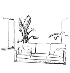 Contemporary modern interior hand drawing vector
