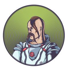 Cossack in cosmonaut costume vector
