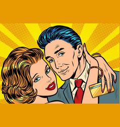 couple in love hug bank card gift vector image