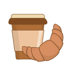 delicious croissant with coffee vector image