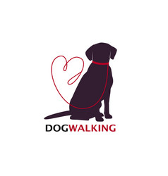 dog walking logo template with sitting dog vector image