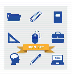 Education icon set flat style vector