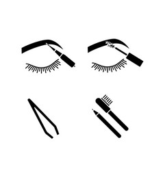 eyebrows shaping glyph icons set vector image