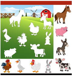 Find the correct shadow farm animals vector