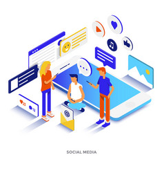 Flat color modern isometric - social media vector