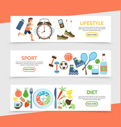 flat healthy lifestyle horizontal banners vector image