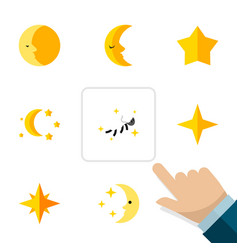 Flat icon night set of lunar star night and vector