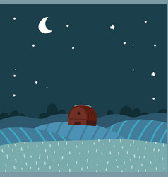flat night over rural farm landscape vector image
