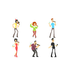 funny people emotionally singing with microphone vector image