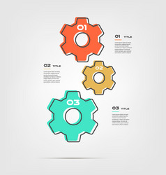 gear cartoon steps infographics with retro colors vector image