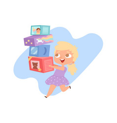 girl with toys happy cartoon baby and boxes vector image