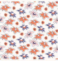 Hand drawn flowers seamless pink red vector
