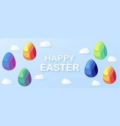 happy easter horizontal banner with a lettering vector image