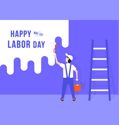 happy labor day with handyman vector image