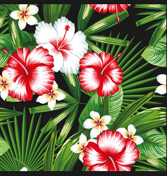 Hibiscus plumeria flowers green leaves seamless vector