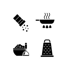 Home cooking black glyph icons set on white space vector
