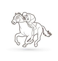 Horse racing jockey riding horse vector