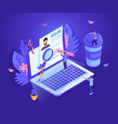 Isometric small people look at the resume together vector
