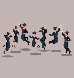 isometrics graduates girls and boys jump vector image
