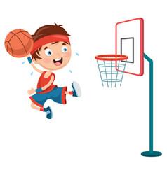 kid playing basketball vector image