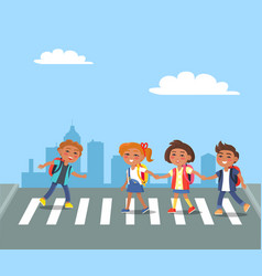 kids crossing road in city cartoon vector image