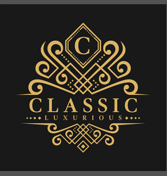 Letter c logo - classic luxurious style logo vector