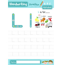 Letter l uppercase and lowercase tracing practice vector