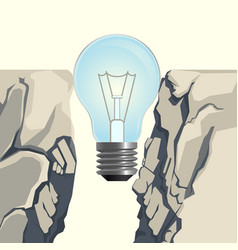 light bulb filling rocky abyss isolated vector image