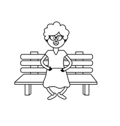 Line old woman in the chair with hairstyle vector