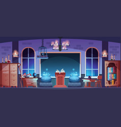 Magic school magician classroom interior with vector